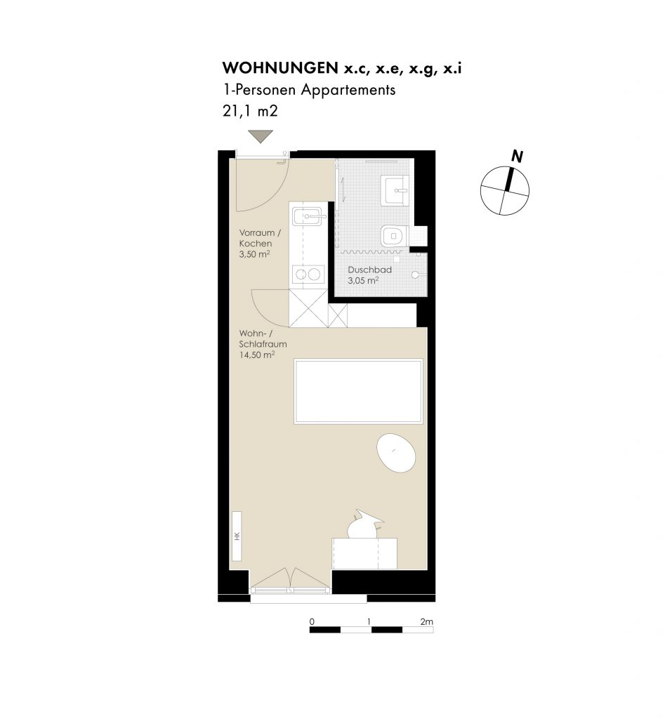 1-Pers. Appartements, x.d, x.f, x.h Regelgeschoss