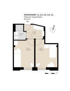 2-Pers. Appartements: 1.b, 2.b, 3.b, 4.b, 5.b