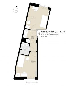 2-Pers. Appartements: 1.k, 2.k, 3.k, 4.k