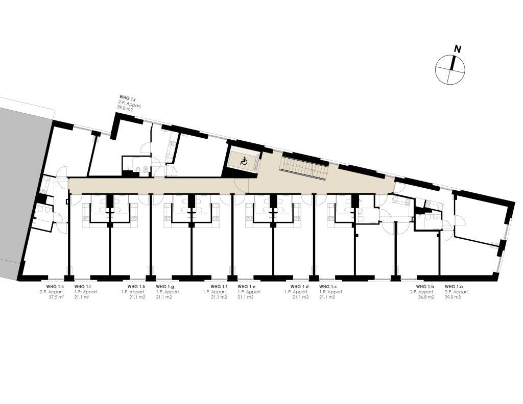 1. bis 4. Obergeschoss (Regelgeschoss)